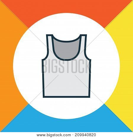 Premium Quality Isolated Underwear Element In Trendy Style.  Singlet Colorful Outline Symbol.