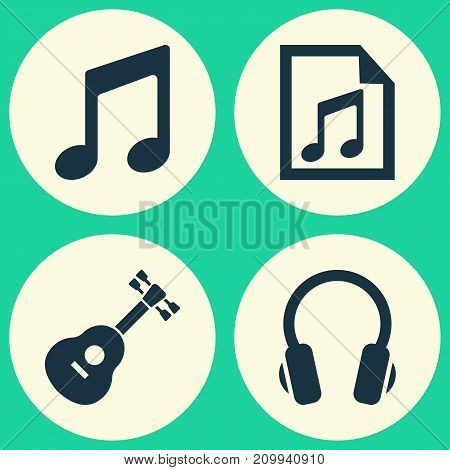 Music Icons Set. Collection Of File, Music, Instrument And Other Elements
