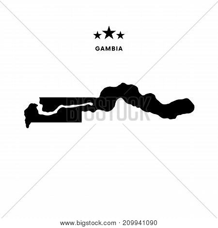 Gambia map. Stars and text. Vector illustration.