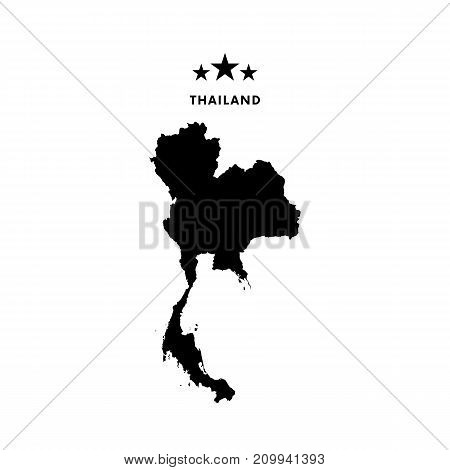 Thailand map. Stars and text. Vector illustration.