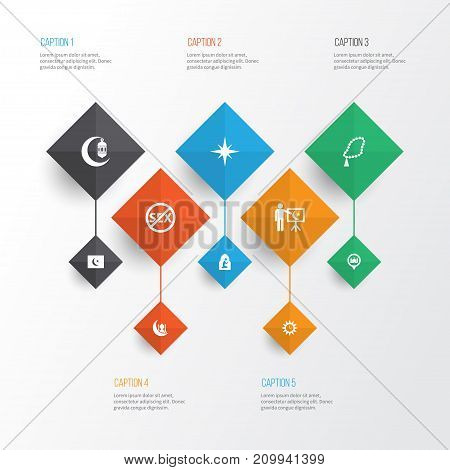 Religion Icons Set. Collection Of Islam, Clock, Direction And Other Elements