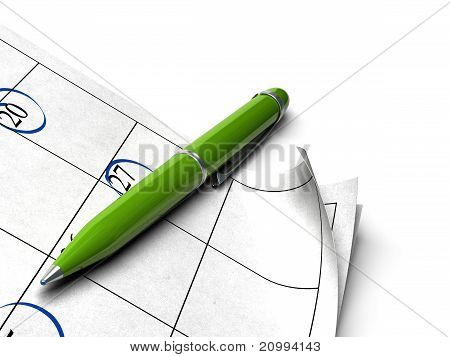 green ball point pen and agenda