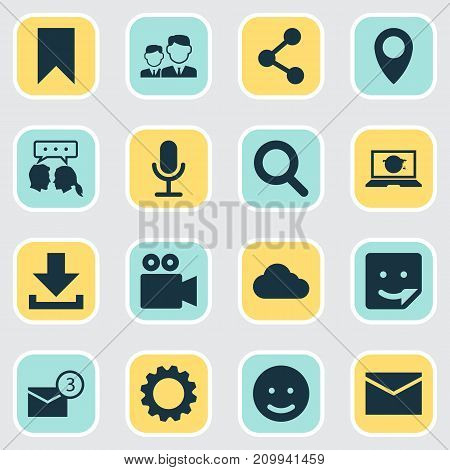 Social Icons Set. Collection Of Publish, Smile, Inbox And Other Elements