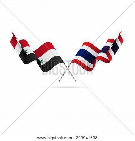 Syria and Thailand flags. Crossed flags. Vector illustration.