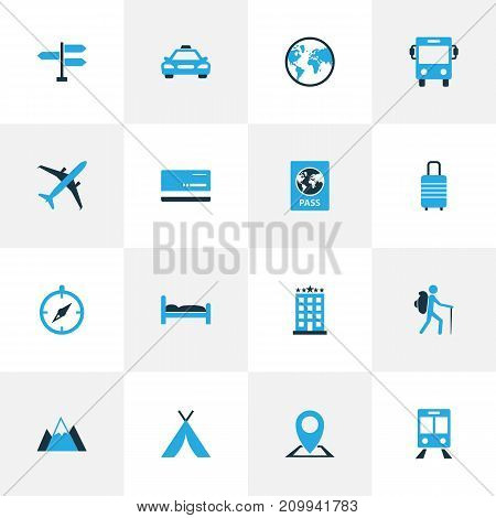 Exploration Colorful Icons Set. Collection Of Bed, Tourist, Passport And Other Elements