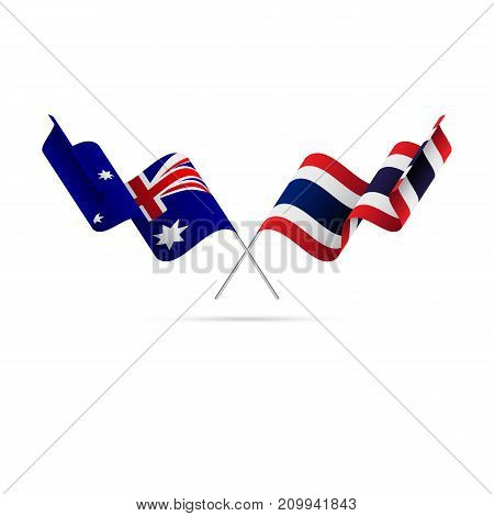 Australia and Thailand flags. Crossed flags. Vector illustration.