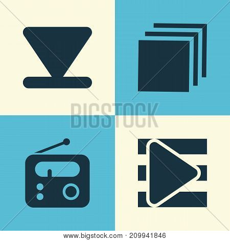Media Icons Set. Collection Of Group, Bottom, Song List And Other Elements