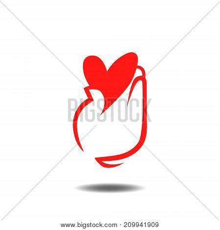 Heart in hand logo. Charity, healthcare, health concept
