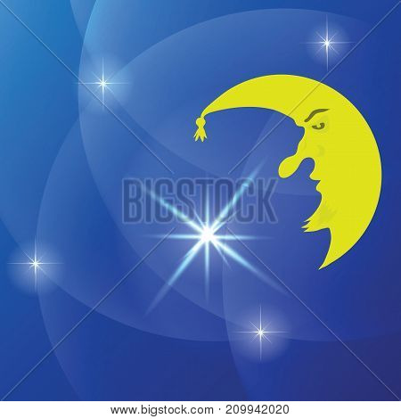 Cartoon Yellow Moon on Blue Starry Night Background