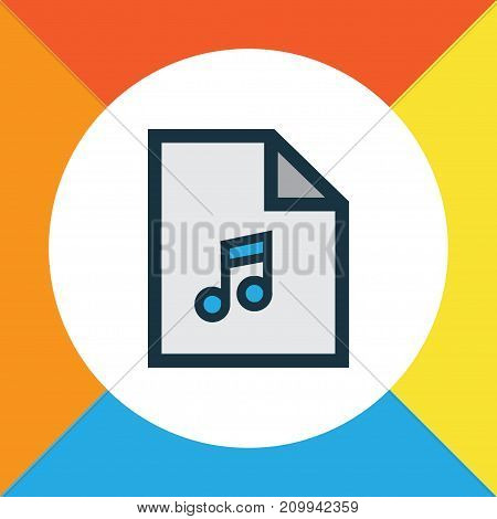 Premium Quality Isolated Playlist Element In Trendy Style.  Song List Colorful Outline Symbol.