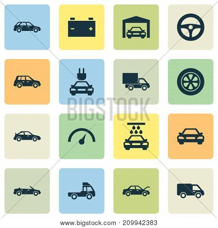 Car Icons Set. Collection Of Car, Convertible Model, Lorry And Other Elements