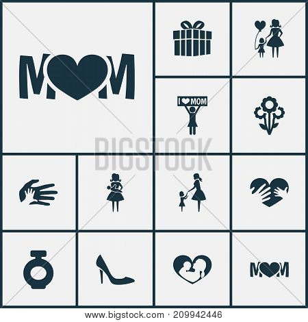 Mothers Day Icon Design Concept. Set Of 12 Such Elements As Design, Child And Placard