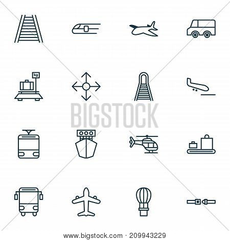 Shipping Icons Set. Collection Of Safety Belt, Baggage Carousel, Flight Basket And Other Elements
