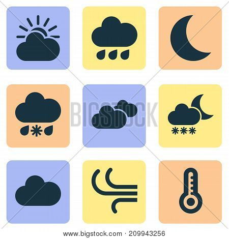 Weather Icons Set. Collection Of Weather, Breeze, Wet And Other Elements