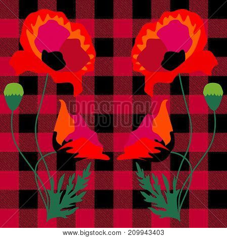 Stylized embroidery on classical checkered fabric inspired by folk art. Creative vector pattern with Spanish motifs. Retro design collection.