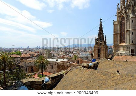 Barcelona Cathedral Main Tower and Old Town Barcelona, from top of the Barcelona Cathedral, Barcelona, Catalonia, Spain.