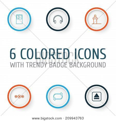 Audio Icons Set. Collection Of Refresh, Rostrum, Extract Device And Other Elements