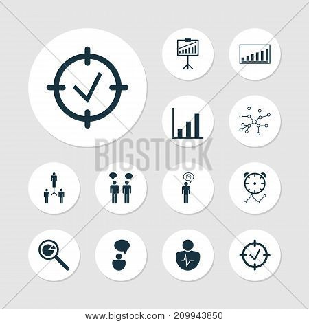 Board Icons Set. Collection Of Conversation, Company Statistics, Report Demonstration And Other Elements