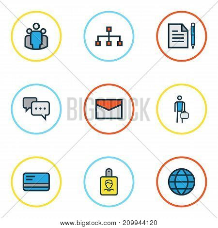 Trade Colorful Outline Icons Set. Collection Of Conversation, Identification Document, World And Other Elements
