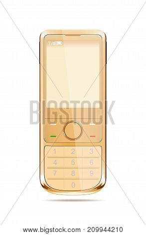 Modern smart phone in yellow color .