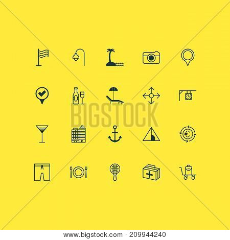 Tourism Icons Set. Collection Of Aperitif, Swimming Clothes, Ship Hook And Other Elements