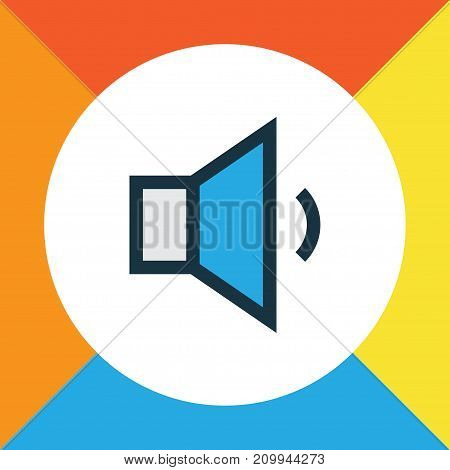 Premium Quality Isolated Volume Down Element In Trendy Style.  Megaphone Colorful Outline Symbol.