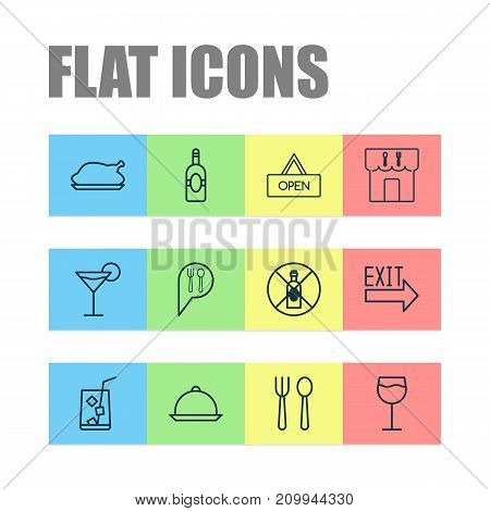 Cafe Icons Set. Collection Of Cocktail, No Drinking, Check In And Other Elements