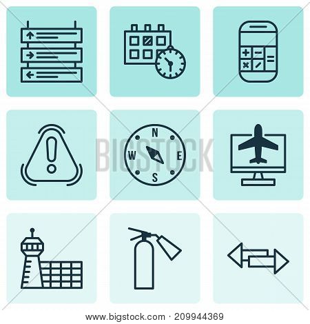 Traveling Icons Set. Collection Of Calculation, Siren, Plane Schedule And Other Elements