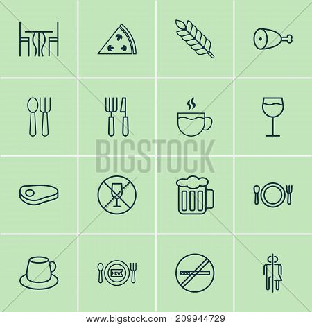 Cafe Icons Set. Collection Of Silverware, Fresh Dining, Fried Poultry And Other Elements