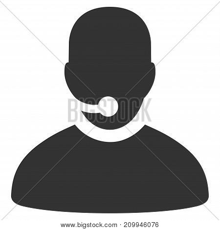 Call Center Operator vector pictogram. Style is flat graphic grey symbol.