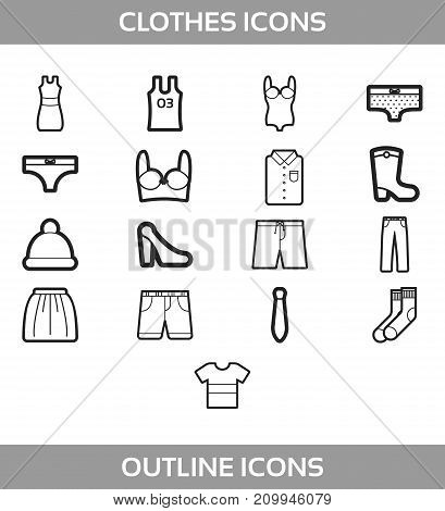 Simple Set of Clothes and shopping Vector outline Icons. Contains such Icons as t-shirt, boots, shoes, pants, shorts, jeans, swimming suit, socks, hat, underwear
