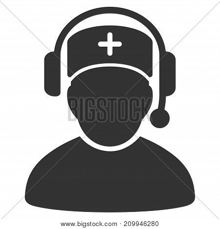 Doctor Call Center vector pictogram. Style is flat graphic gray symbol.