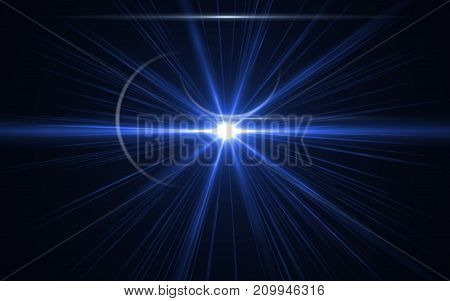 Abstract galactic space scape background with distant stars.Beautiful lens flare effect.Colorful digital lens flare.