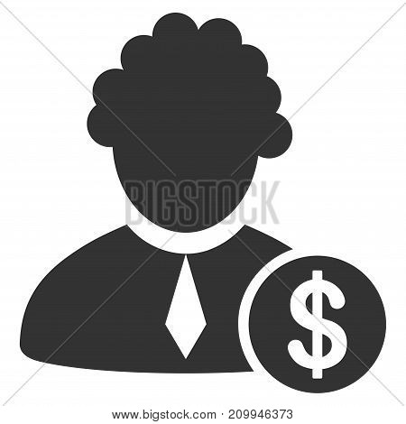 Financial Judge vector pictogram. Style is flat graphic grey symbol.