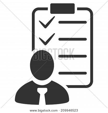 Manager Check List vector icon. Style is flat graphic gray symbol.