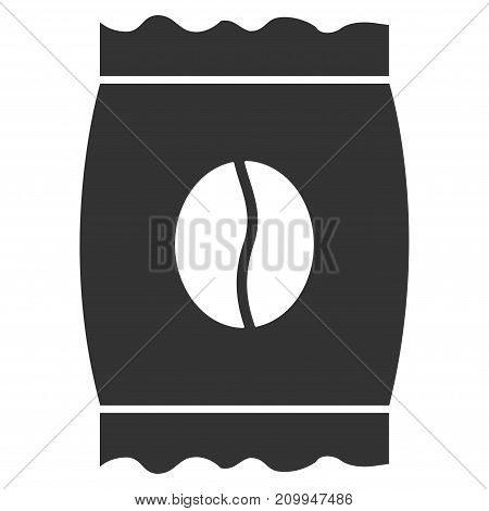 Coffee Bean Pack vector icon. Style is flat graphic gray symbol.