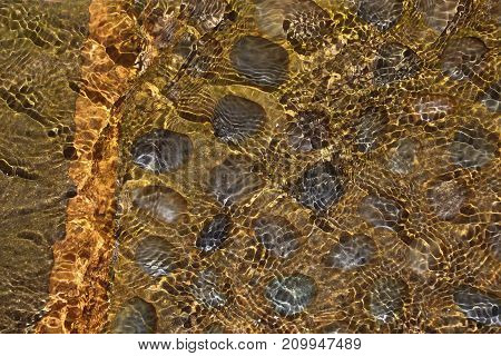 Clear, clean water running over black oval rocks set in brown concrete in a water feature, the ripples casting golden shadows on the surface, making an almost reptilian pattern.