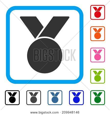 Army Medal icon. Flat gray pictogram symbol in a light blue rounded squared frame. Black, gray, green, blue, red, orange color additional versions of Army Medal vector.