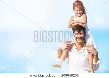 Daughter father piggyback white background isolated beautiful