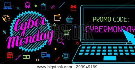 Cyber monday sale banner. Online shopping and marketing advertising concept.