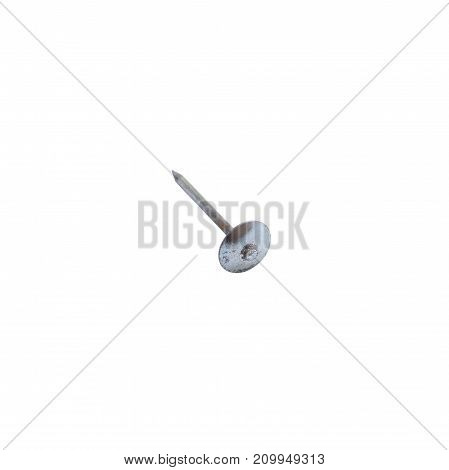 Galvanized nail isolated on a white background