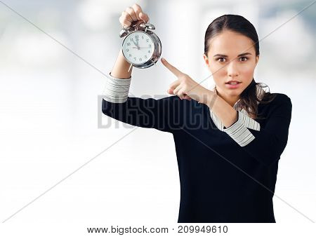 Business clock big woman background view beautiful