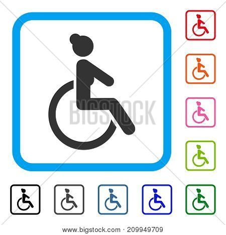 Disabled Woman icon. Flat gray pictogram symbol in a light blue rounded frame. Black, gray, green, blue, red, orange color versions of Disabled Woman vector. Designed for web and software interfaces.