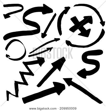Pointers, arrows and other signs. Vector image in black and white. Doodle ink, hand drawn.