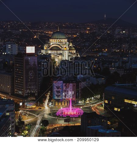 Belgrade, Serbia, July 22, 2017.Aerial  night view of old Belgrade, capital of Serbia with Slavija Square, Saint.Sava Temple and Avala Tower in the background