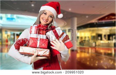 Beautiful santa hat woman white background celebration