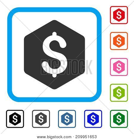 Dollar Hexagon icon. Flat gray iconic symbol in a light blue rounded squared frame. Black, gray, green, blue, red, orange color versions of Dollar Hexagon vector. Designed for web and app interfaces.