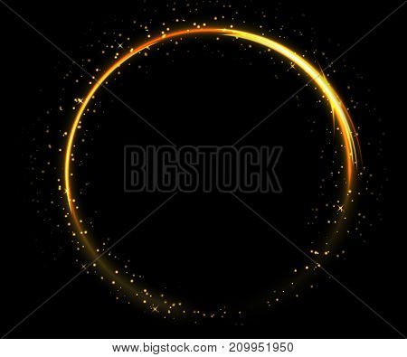 Light circle on black background. Fire ring glowing trace. Vector fire gold circle