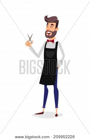 Cartoon successful hairdresser in an apron with a scissors in hand. Young stylish hairdresser with a beard. Professional fashion stilist smiling on a white background