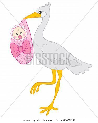 Vector grey stork holding baby girl. Vector stork. Vector baby girl shower. Stork and baby girl vector illustration